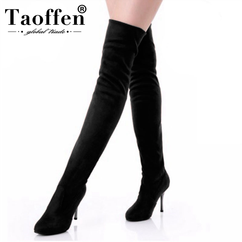 Taoffen Sexy Over The Knee High Boots Women Shoes Big Size Thigh High Boots Woman Round Toe High Heel Platform Shoes Size 34-43Taoffen Sexy Over The Knee High Boots Women Shoes Big Size Thigh High Boots Woman Round Toe High Heel Platform Shoes Size 34-43
