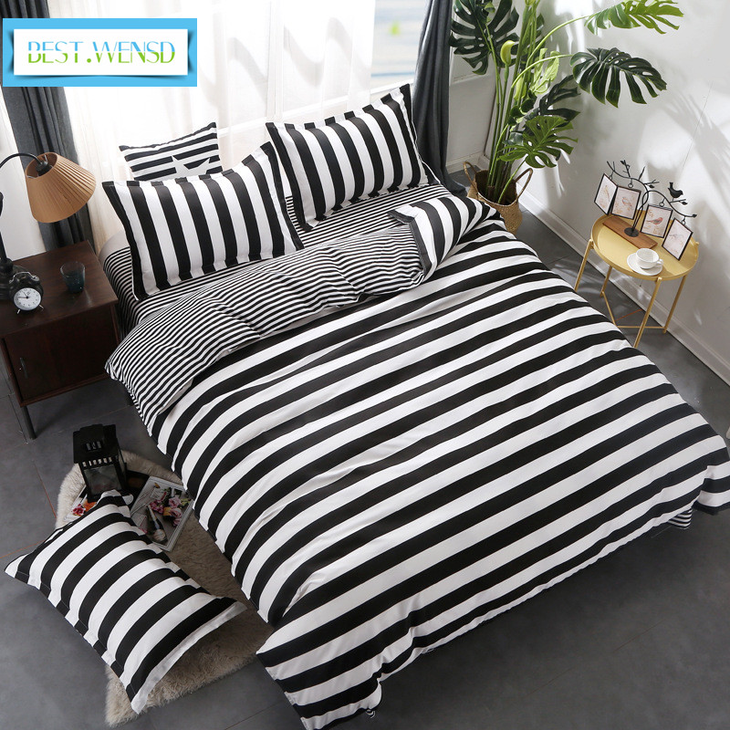 BEST.WENSD Simple Modern Style Black White Stripes Bedding Egyptian Cotton Bedsheet Comforter Set 3/4pc Quilt Cover Sets Edredon