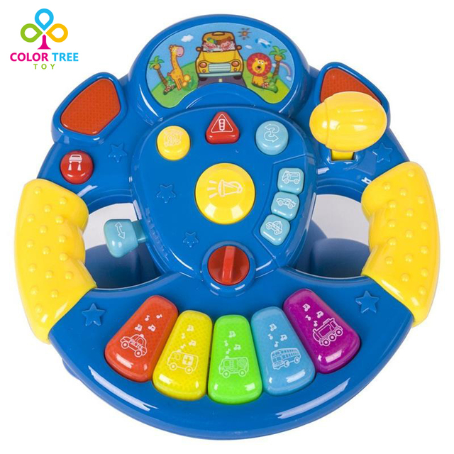 Kids Creative Toys Steering Wheel Rainbow Piano with Buttons Modes Lights and Sounds