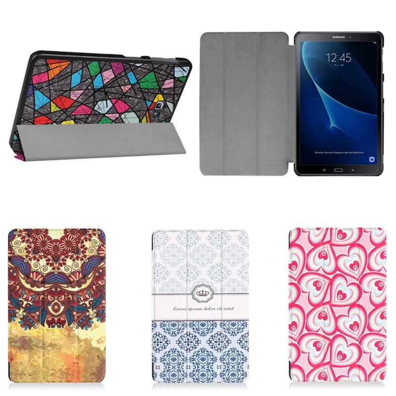 4W  Unique design Painted Magnetic Flip Cover For Samsung Galaxy Tab A A6 10.1 T585C SM-T585 T580 SM-T580 Tablet PU Leather Case