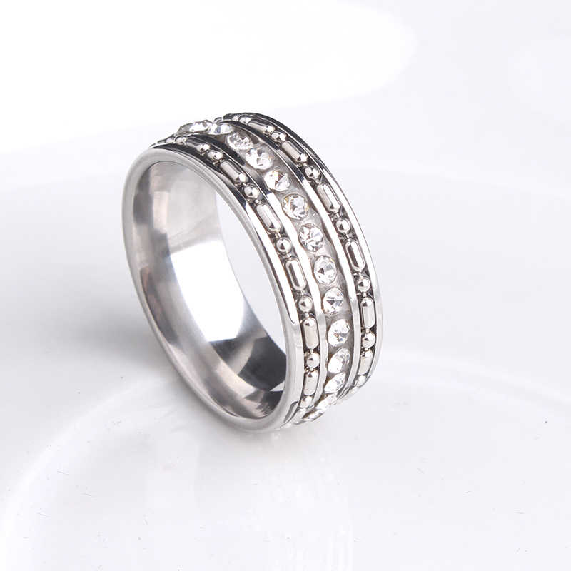 free shipping 8mm silvery bead chain single row crystal 316L Stainless Steel wedding rings for men women wholesale