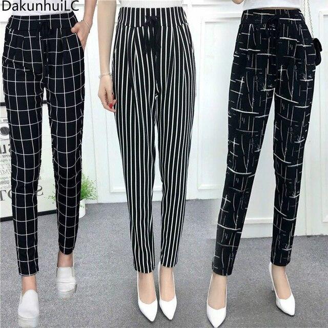 6d4edad6fa2a New Fashion Summer Wide Leg Pants Women High Waist Plaid Striped Slim  Palazzo Pants Elegant Office Ladies Trousers