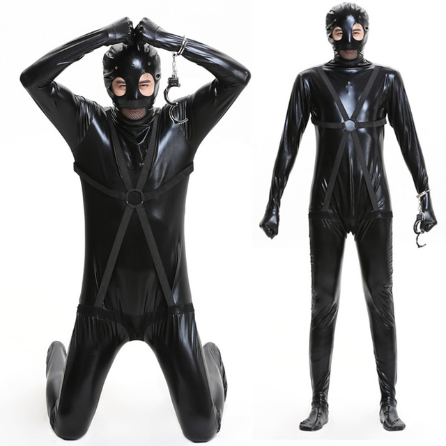 Halloween Fetish Latex Leotard Mens Sexy Faux Leather Lingerie Bodysuits Erotic Unitard Halloween Masked Prisoner Costumes
