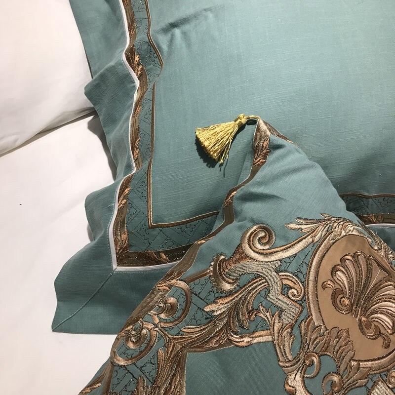 Oriental ปักผ้าฝ้ายอียิปต์สีขาว Royal ชุดเครื่องนอนชุด Queen King ขนาดเครื่องนอนชุดผ้าคลุมเตียงแผ่นชุด-ใน ชุดเครื่องนอน จาก บ้านและสวน บน   3