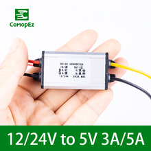цена на 12V 24V to 5V 3A 5A Step Down DC DC Converter Buck Regulator Voltage Reducer Waterproof Power Supply for Toy Car LED Solar Plane