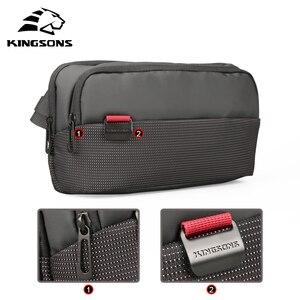Image 3 - Kingsons sac à dos à épaule pour hommes et femmes, petit sac de poitrine à bandoulière simple, sac banane Style ceinture argent pour voyage pour téléphone portable