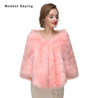 Elegant Blush Pink Faux Fur Wedding Shawls 2017 Imitation Fox fur Bridal Wraps Women Bolero Wedding Fur Coat Wedding Accessories