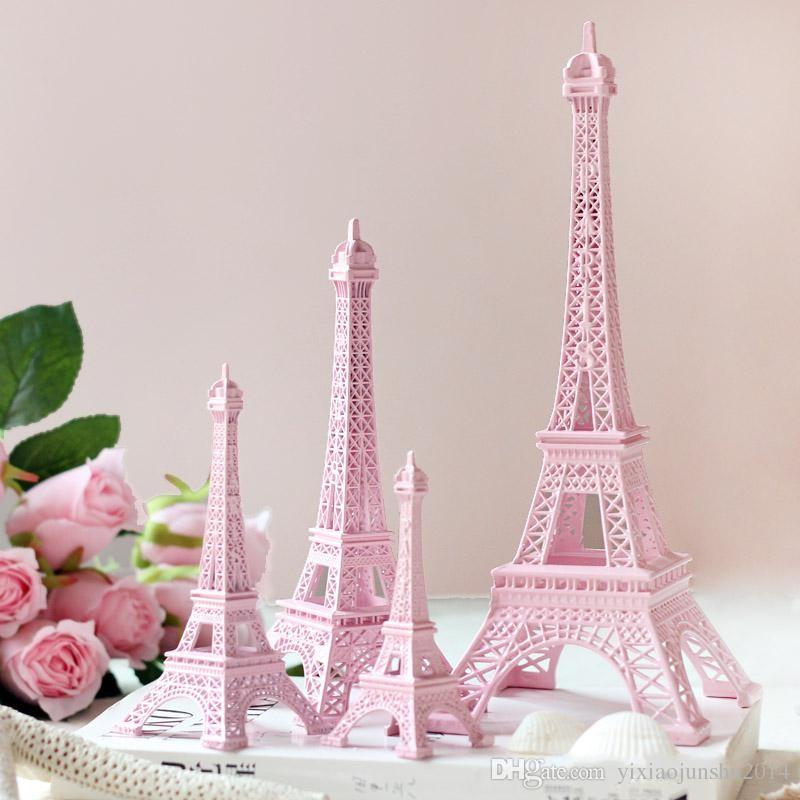 Romantic Pink <font><b>Paris</b></font> 3D Eiffel Tower model Alloy Eiffel Tower Metal craft for Wedding centerpieces table centerpiece image
