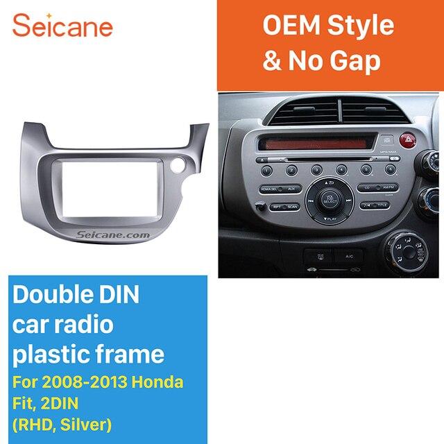 Seicane Zilver 2 Din Autoradio Fascia Voor 2008 2009 2010 2011 2012 2013 Honda Fit Rhd Audio Frame Stereo interface Panel Adapter