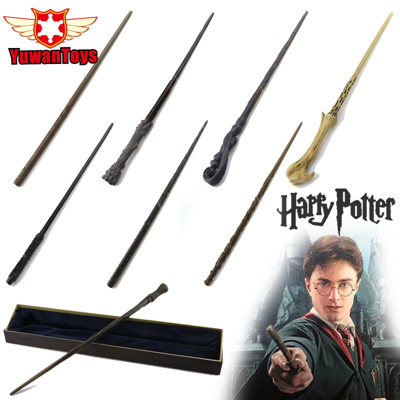 Varita temática auténtica de Harry Potter con caja de regalo embalaje de Metal-varita mágica de núcleo para niños Cosplay varita mágica de Harry Potter