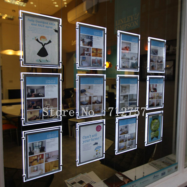 A3 Vertical Cable Hanging Acrylic Frame Led Window Display