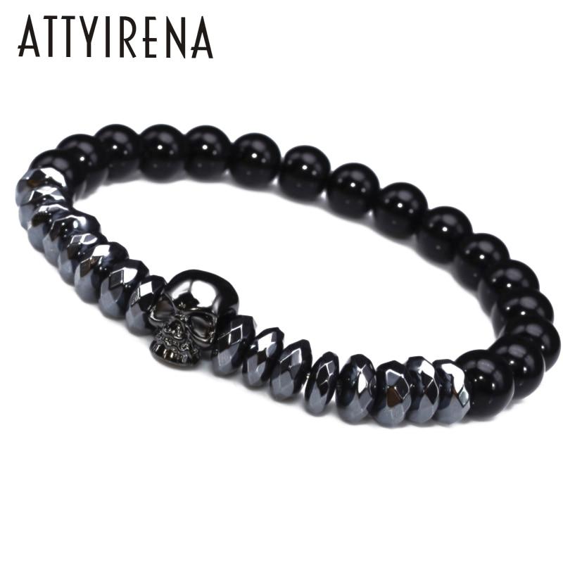 Hematite Beads Bracelets Skull Bangles bijoux Rope Titanium