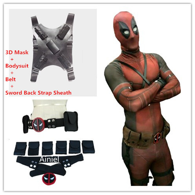 Ainiel Classical Deadpool Cosplay Costume Halloween Cosplay  Bodysuit Lycra Spandex Zentai  Jumpsuit and Belt Strap