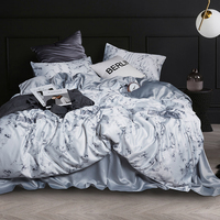 Stone Print Letter Duvet Cover Bed Sheet Pillowcase Queen/King Silk Bedding Quilt/Duvet Cover Sets,Satin Silk Bedding Sets 4 Pcs