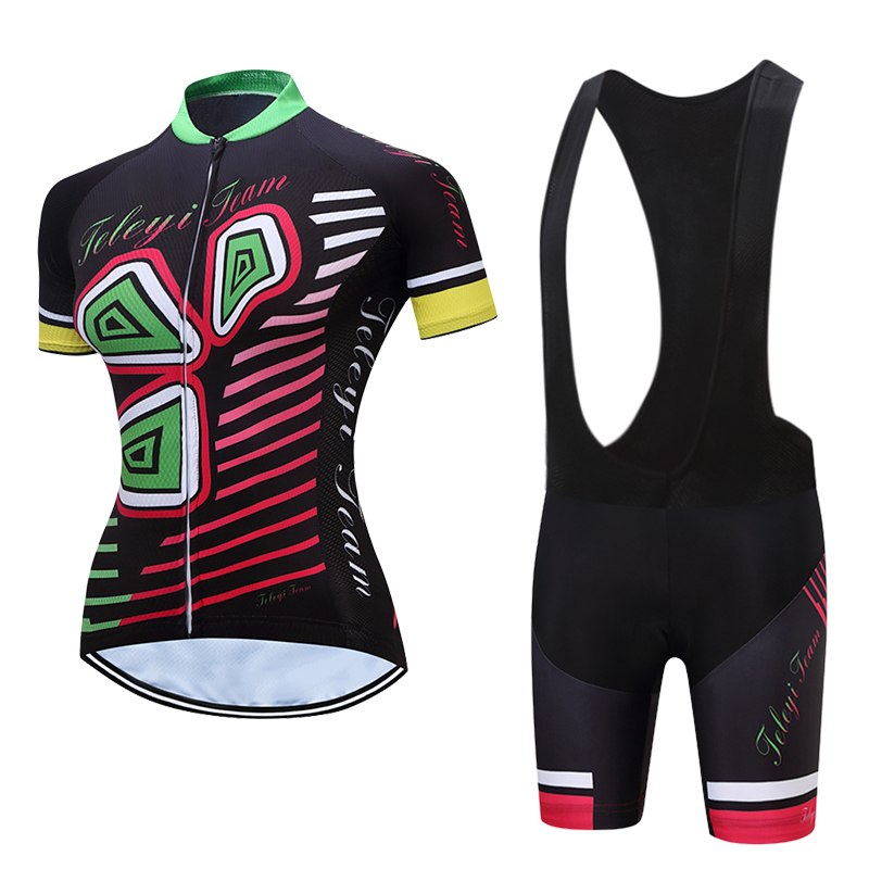 2018TELEYI Women Cycling Set Short Sleeve Quick Dry Bike Jersey MTB Cycling Clothing Cycle Jersey Pants Sets