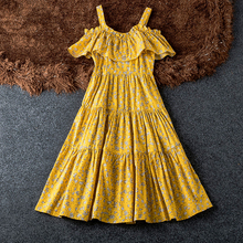 Cotton Drop Off Shoulder Yellow Flower Dress Summer Good Quality Ruffle Hem Vestidos For Woman Strapless Print Women Dresses