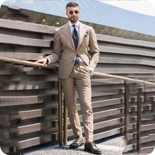 Peaked Lapel Khaki Men Wedding Suits Slim Fit Man Blazers Custom Groom Tuxedo Terno Masculino Prom Suit 2Piece