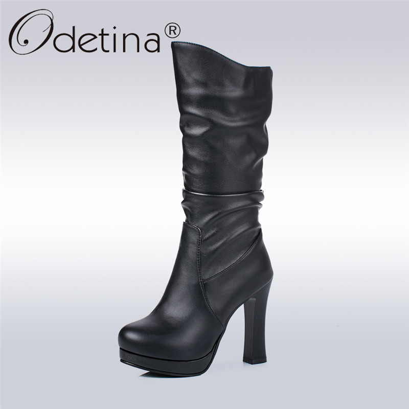 Odetina 2017 Fashion Women Mid Calf Boots With High Heels Slouch Pleated Half Short Boots Platform Autumn Winter Shoes Plus Size double buckle cross straps mid calf boots