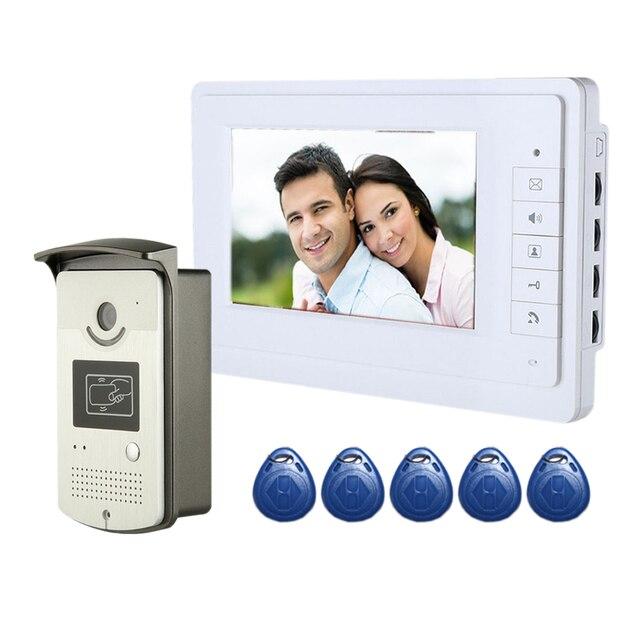 7 Inch Color Video Door Phone Video Porteiro 700TVL Handfree 2-Way Intercom Doorbell System RFID Access Waterproof Camera