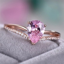 цена на HUITAN Romantic Engagement Ring With Clear Pink Cubic Zircon Prong Setting Rose Gold Color Wedding Ring For Women With Size 6-10