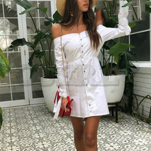 CUERLY Sexy off shoulder summer dress shirt Tie up button women casual dress Streetwear OL white short dress vestidos 2019