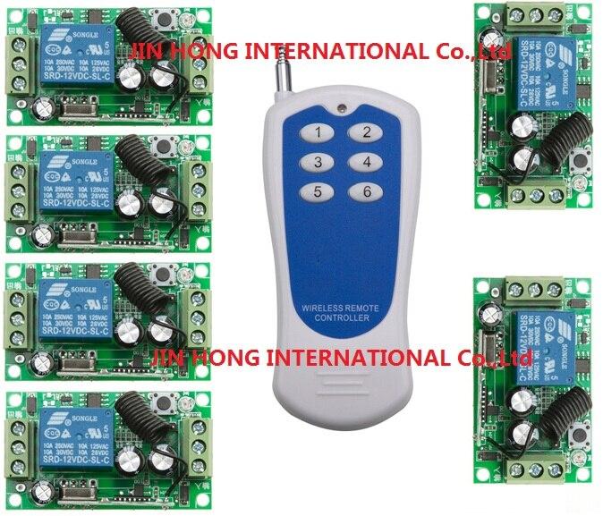 DC12V 1CH RF interrupteur à bascule livolo commutateur système smart maison radio commutateur 315/433 mhz rf de levage 6 Boutons émetteurs