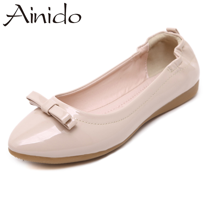 AINIDO Women Soft Comfortable Boat Shoes Patent Leather Cute Bowtie Pregnant Woman Driving Flats