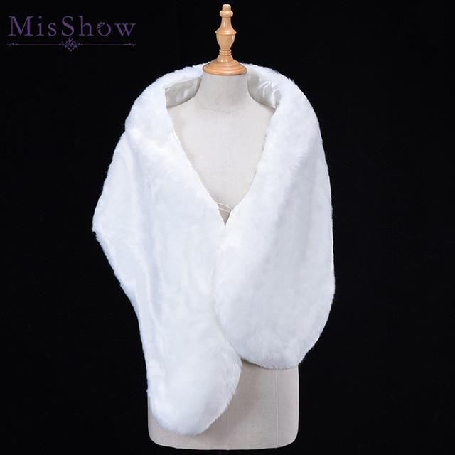 Wholesale Bolero Women Faux Fur Long Wrap Fashion Bridal Capes Winter Wedding Jacket Mariage In Stock white Cheap Fur Bolero