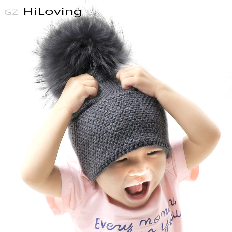 GZHilovingL Winter Baby Fur Pompom Hat Autumn Winter Soft Wool Baby Boys Girls Real Fur Pompom Beanie Hat Kids Child Knitted Hat куртка горнолыжная roxy roxy ro165ewvoi20