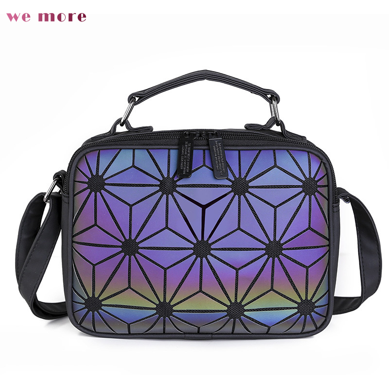 Women Travel Luminous Geometric Plaid Sequin Female Handbags For Teenage Girls Bagpack Drawstring Bag Holographic Handbag ipinee women backpack feminine geometric plaid denim female backpacks for teenage girls bagpack drawstring bag holographic