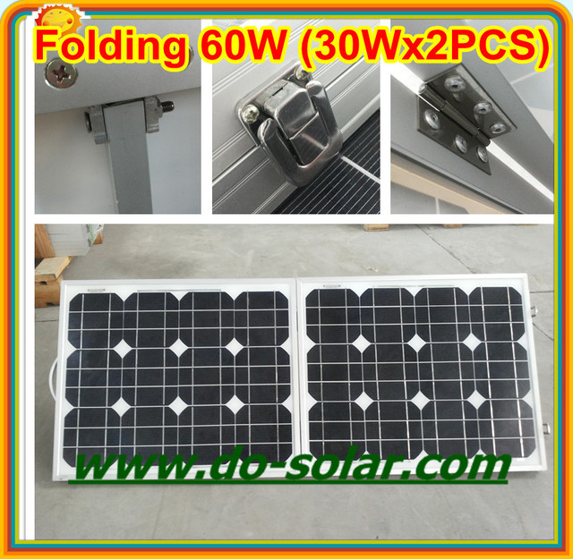 Free Shipping--60W folding solar panel system, folding PV modules by 30Wx2PCS charging for 12V battery in  stock