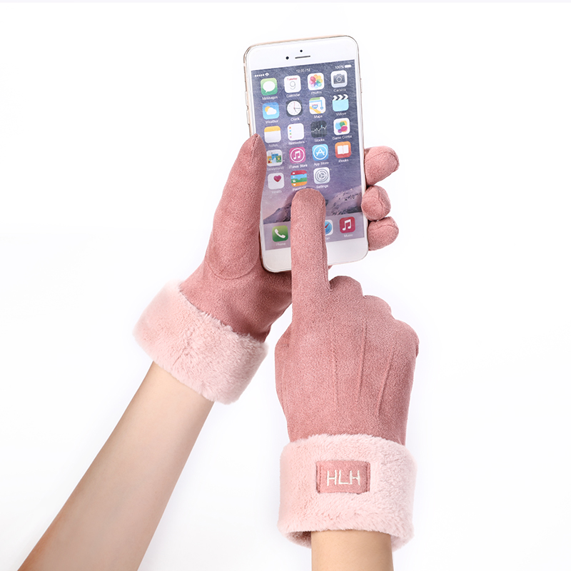 New Winter Female Lace Warm Cashmere Three Ribs Cute Bear Mittens Double Thick Plush Wrist Women Touch Screen Driving Gloves 81B