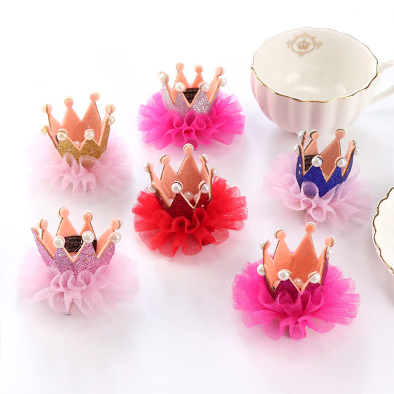 1PC New Good Quality Children Cute Crown Princess Lace Hair Clips Pearls Shiny Star Hairpins Girls Headbands Hair Accessories m mism new arrival girls yarn hair accessories pearls crown shaped fabric hairpins bb christmas dancing party princess hair clip
