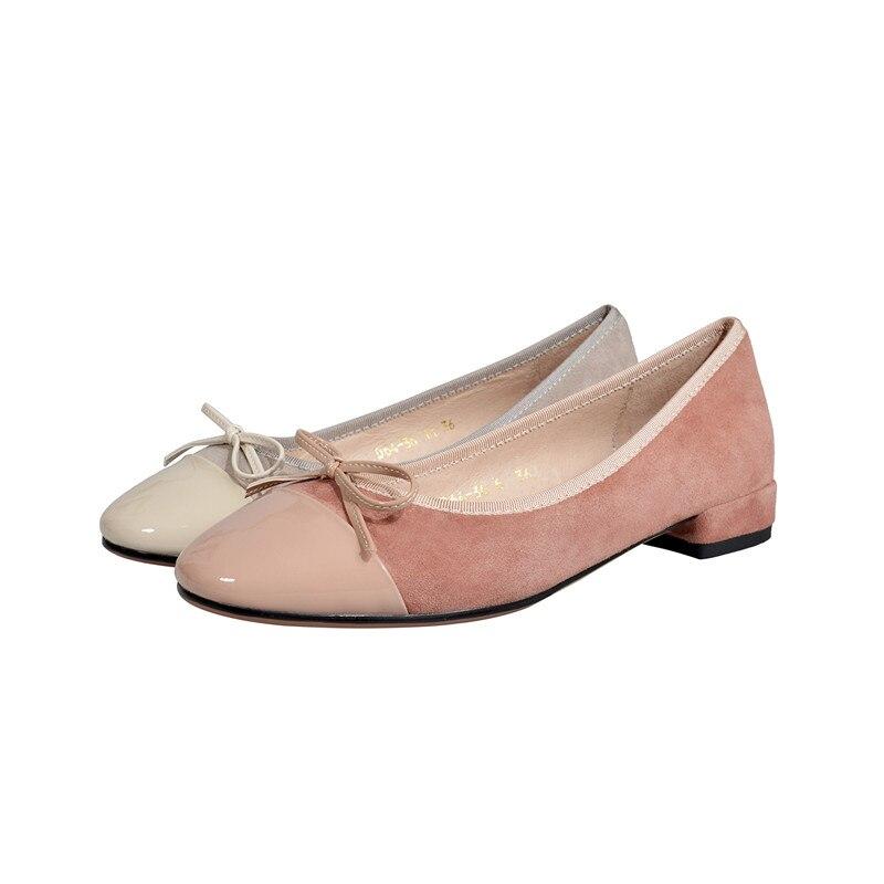 Rose Moutons À Appartements Arc Femmes Enfiler Daim Chaussures De Mocassins Qualité Gray Bout pink Flats Douce Top Flats Dame Ballerines cravate Rond wAqtagA