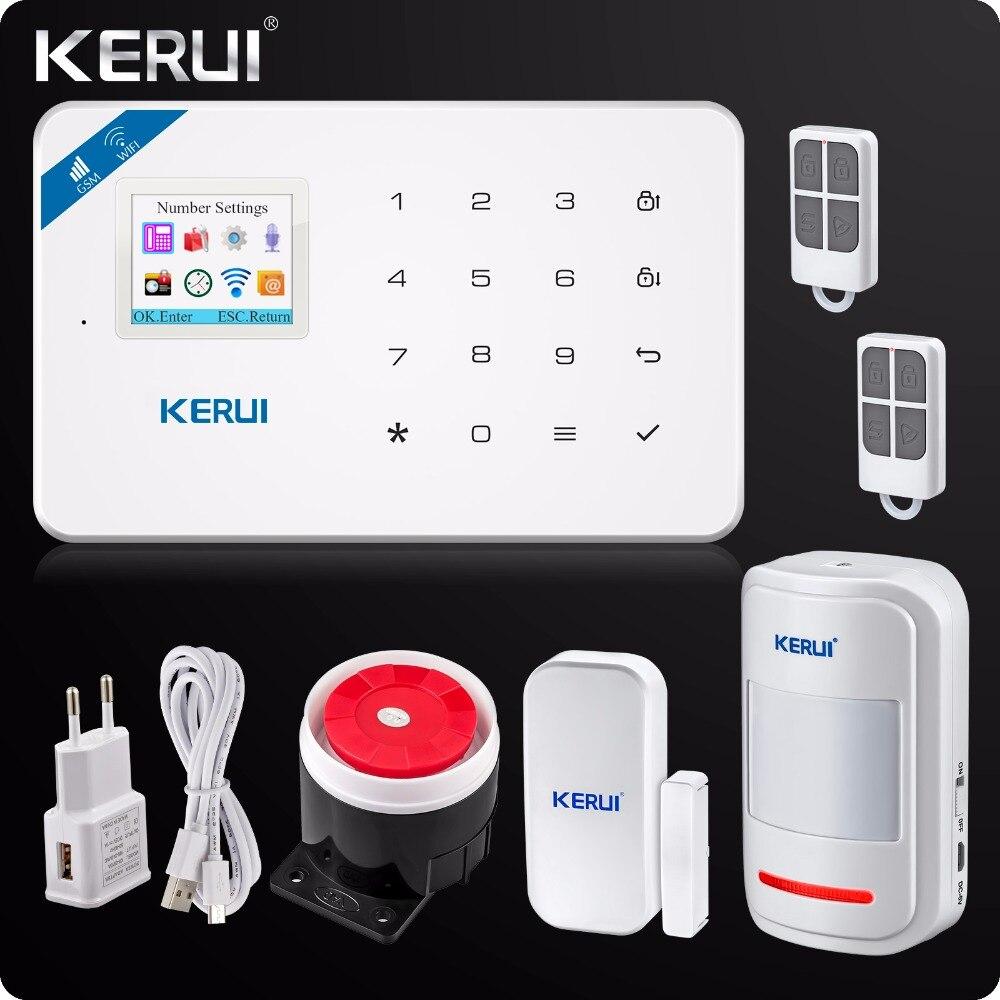 imágenes para 2017 W18 Kerui Wireless Wifi GSM IOS/Android APP Control LCD GSM SMS Sistema de Alarma Antirrobo Para la Seguridad Casera ruso/Inglés Voz