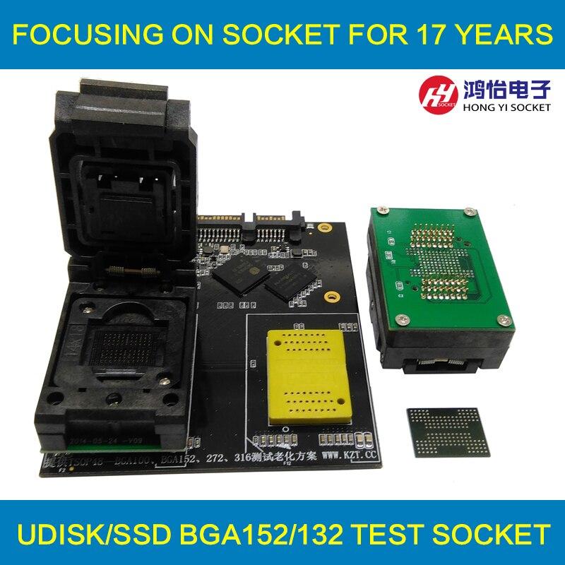 BGA152 BGA132 To DIP48 Test Socket Clamshell Structure Jig SSD Interface Socket Fixture bga132 bga152 bga88 bga136 to dip48 adapter ic test socket burn in socket programmer socket with board clamshell structure