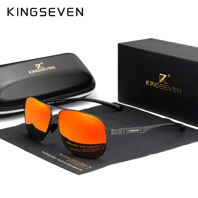 KINGSEVEN 2020 Brand Men Aluminum Sunglasses Polarized UV400 Mirror Male Sun Glasses Women For Men Oculos de sol 9