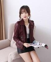 Free Shipping Fashion Casual 100 Genuine Leather Women Slim Jackets Motorbiker Asian Size Female Sheepskin Jacket