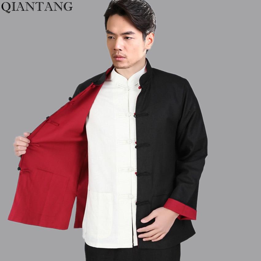 Black Red Vintage Chinese Two-Face Coat Men Cotton Linen Reversible Kung Fu Jacket Size S M L XL XXL XXXL hombre chaqueta Mim22G