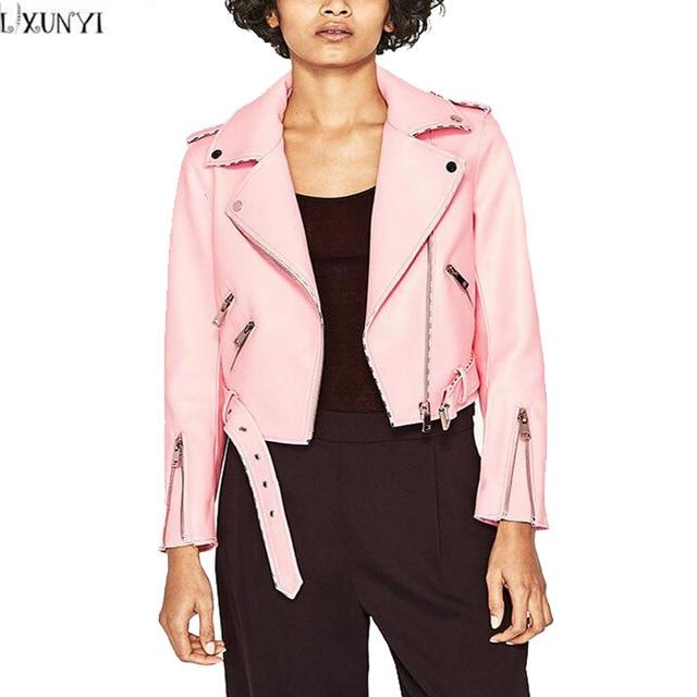 Biker lederjacke damen rosa