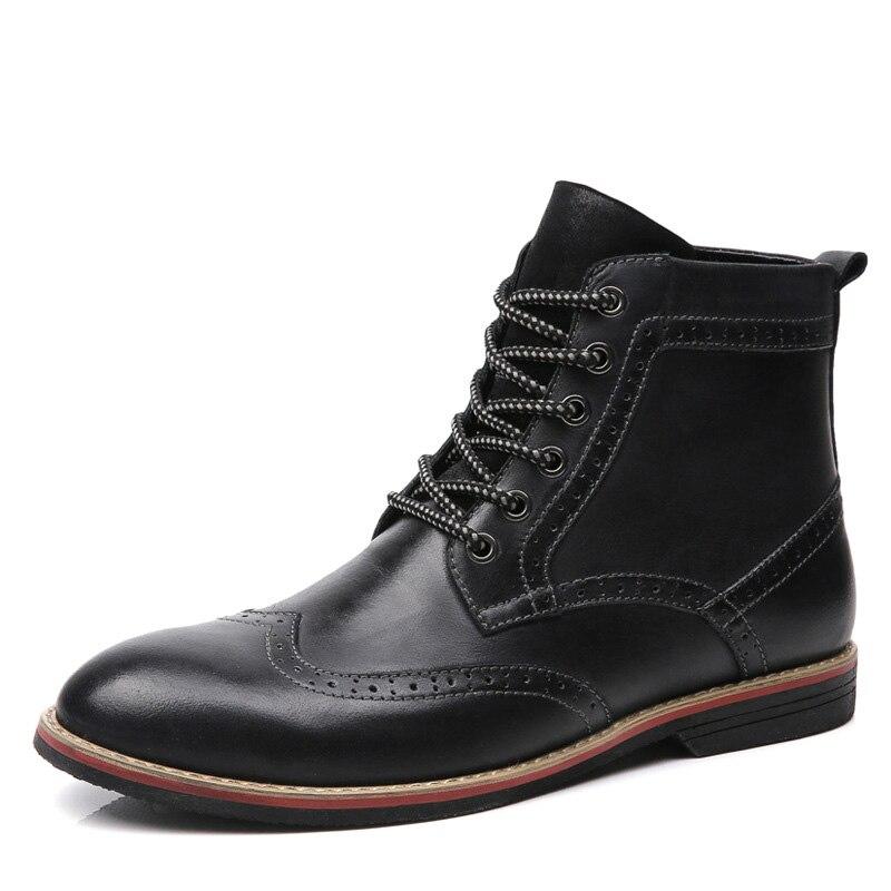 Asifn Casual Richelieu Véritable Hommes Homme Cheville Cuir Désert Bottes Hiver Oxford Formelle Chaussures Male Automne En Noir Ton Robe marron z1z0wrq