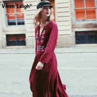 Viven Leigh Bohemian Women Vintage Flower Embroidery Long Dress Long Sleeve V Neck Pleated Vestidos Casual
