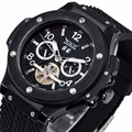 WINNER Men Unisex Fashion Business Automatic-self-wind Mechanical Watch PU Strap Sub Dials + Gift BOX