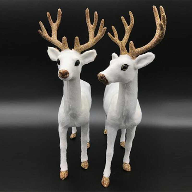 zilin simulated white deer beautiful white deer christmas decoration deer 2 sizes sold as a pair - White Deer Christmas Decoration