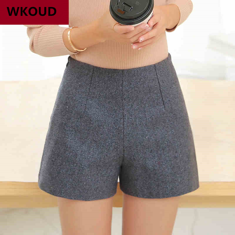 WKOUD Winter Wool Shorts Women Candy Color Solid Short High Waist Warm Boots Shorts Solid With Zip Female Casual Wear D2616