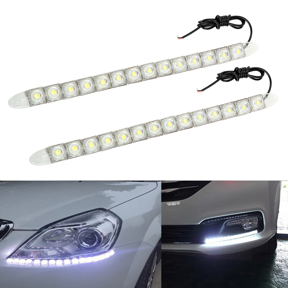 2Pcs/Set LED Car DRL Daytime Running Lights Automobiles Daytime Lamp Car-styling DC 12V Flexible Daylight Universal Super Bright 2pcs universal car daytime running lights 8 led drl daylight kit super white 12v dc head lamp free shipping