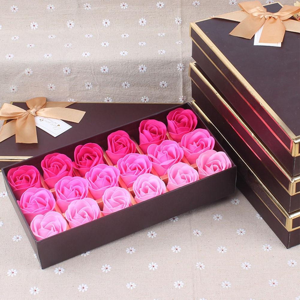 18Pcs Simulation Romantic Artificial Rose With Box Handmade Body Gift Petal Fragrant Soap Flower Wedding Party Bath Home Decor