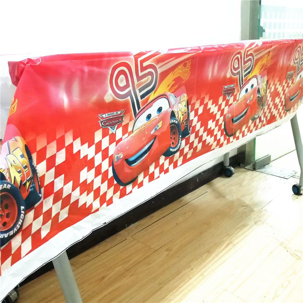 HOT Disney Red Lightning Mcqueen Plastic Tablecloth Party Decorations Disney Cars Birthday/Christmas Kids Party Supplies