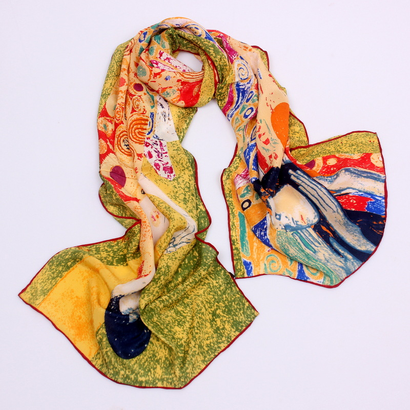 Image 5 - DANKEYISI 2019 Van Gogh Oil Painting Silk Scarf Women & Men Scarf 100% Real Silk Scarves Female Luxury Brand Designer Scarves-in Women's Scarves from Apparel Accessories on AliExpress