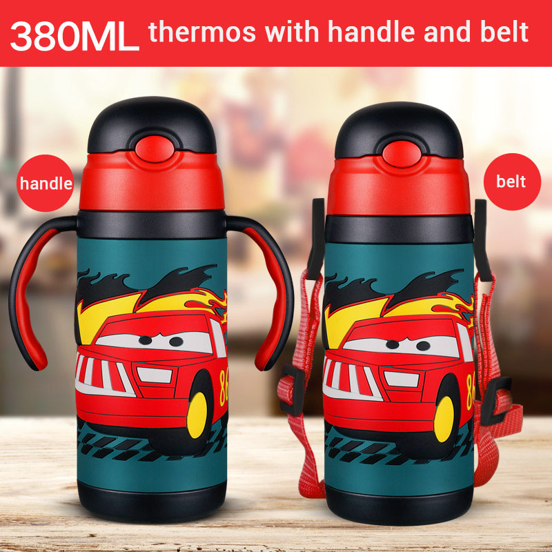 3D cartoon Thermos Cup Kids Thermo Mug soft silicone Straw Insulated Drink Water Bottle kart Vacuum